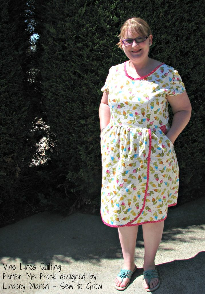 Flatter Me Frock, designed by Lindsey Marsh of Sew to Grow and made and worn by Linden Vine of Vine Lines Quilting