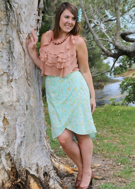 Lindsey wearing her Emerson Wrap Skirt.   All images are Copyright Sew to Grow and are used with permission