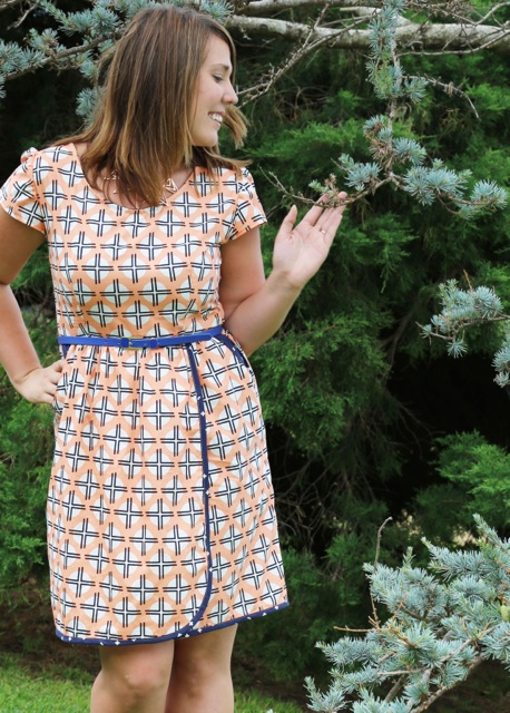 """Lindsey wearing her """"Flatter Me Frock"""" All images are Copyright Sew to Grow and are used with permission"""