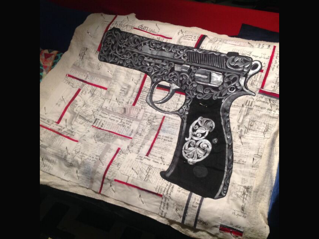 Gun Quilt by Monica Raven. Image Copyright Monica Raven and used with permission.